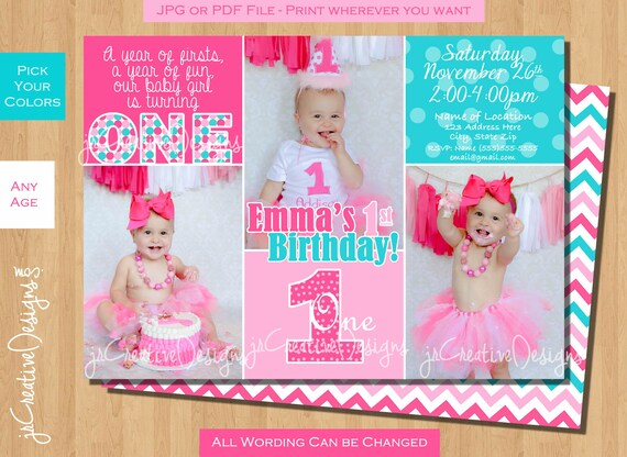 First Birthday Invitation Girl 1st Turquoise Blue Green Pink Printable Photo Custom Colors Baby Dayz