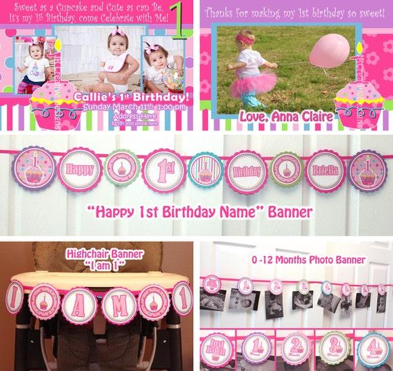 birthday party package printable birthday banner girl 1st birthday