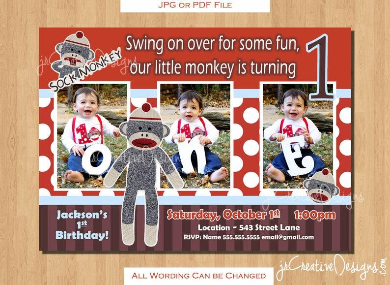 Sock Monkey 1st Birthday Invitation Sockmonkey Boy Invitations Photo Pic