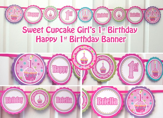 happy birthday banner printable birthday banner girl cupcake