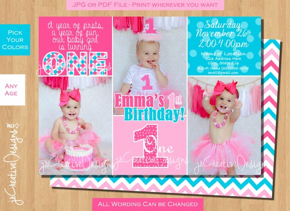 Girl 1st Birthday Invitation First Turquoise Pink Printable Photo Custom Baby Dayz