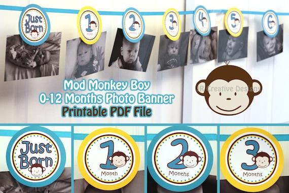 Monkey Birthday Banner 12 Month Photo 1 Year Old