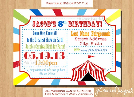 Circus Invitation Carnival Birthday Ticket Party Kids