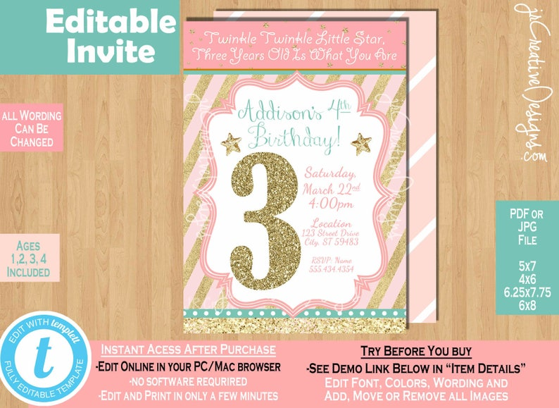 Girl 3rd Birthday Invitation Twinkle Little Star