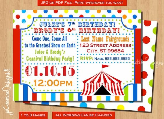 Circus Birthday Invitation Carnival