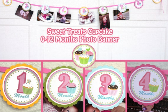 cupcake photo banner birthday party sweet treats cupcake party etsy