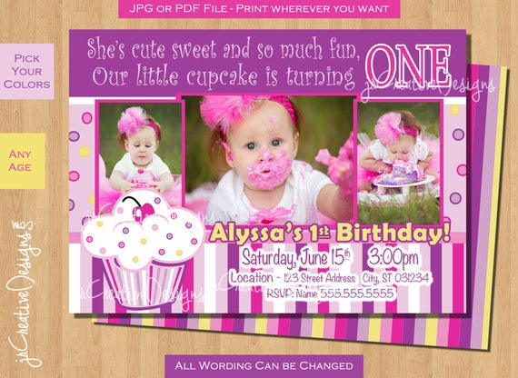 cupcake birthday invitation 1st birthday cupcake invite lil cupcake