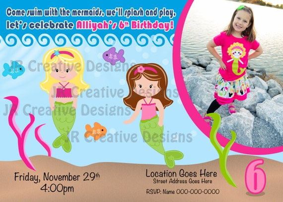 Mermaid Invitation Invite Party The Little Birthday Swimming