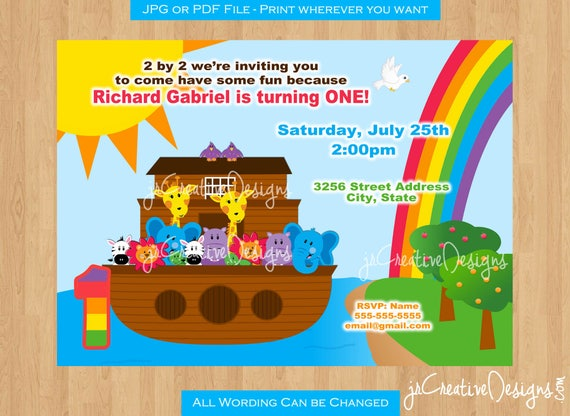 Noahs Ark Birthday Party Invitation Invite Supplies 1st Boy Girl