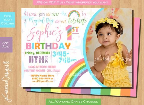 Pastel Rainbow Birthday Party Invitations Invitation Invite Pink First Girl 1st