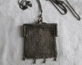 Antique Chatelaine 1800 39 s Mesh Coin Purse Childs Purse Antique Sterling Silver Victorian Engraved Frame Kiss Closure Serling Fob Chain