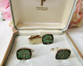 Vintage Cufflinks Enamel Money Tree Robbins Co Attleboro Cuff Links Set In Original Box Men 39 s Accessories Suit Accessories Cuff links