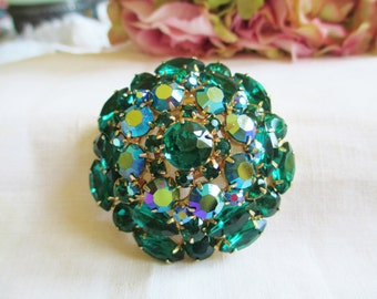 Vintage Juliana Large Layered Green AB Rhinestone Pin / Brooch AWESOME! Vintage Jewelry By Vintagelady7