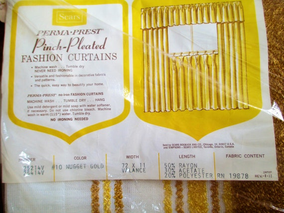 Curtains Valance Vintage Perma Prest Pinch Pleated Fashion Curtains 72x 11 Nugget Gold Striped Sears 1970/'s NOS In original package