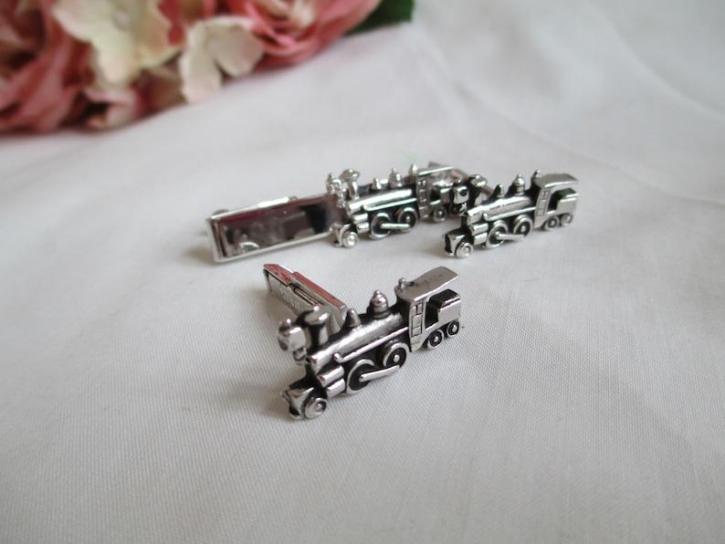 Vintage Cufflinks Set Swank Silver Train Locomotive And Tie Clip Suit Wear Formal Wear Shirt Accessory