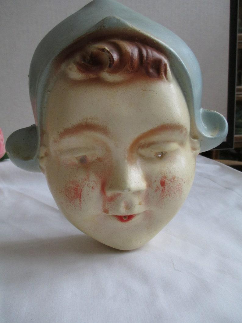 Vintage String Holder Dutch Girl Chalkware String Holder Holland Very Old Chalkware