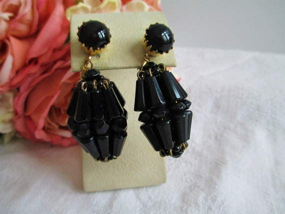 Antique Earrings Victorian Jet Black Chandelier Cl