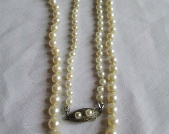 Vintage Cultured Pearl Necklace Graduated W Ornate Sterling Clasp with Pearls 20 inch Necklace Fish Hook Clasp  With Appraisal 756.50