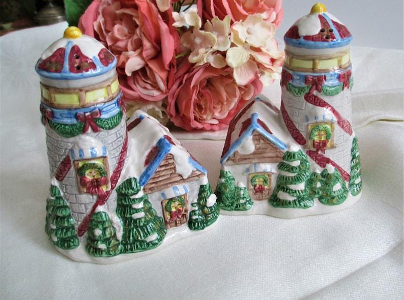 Vintage Salt /& Pepper Shakers Light Houses In Winter Salt and Pepper Shakers Vintage Farmhouse Kitchen