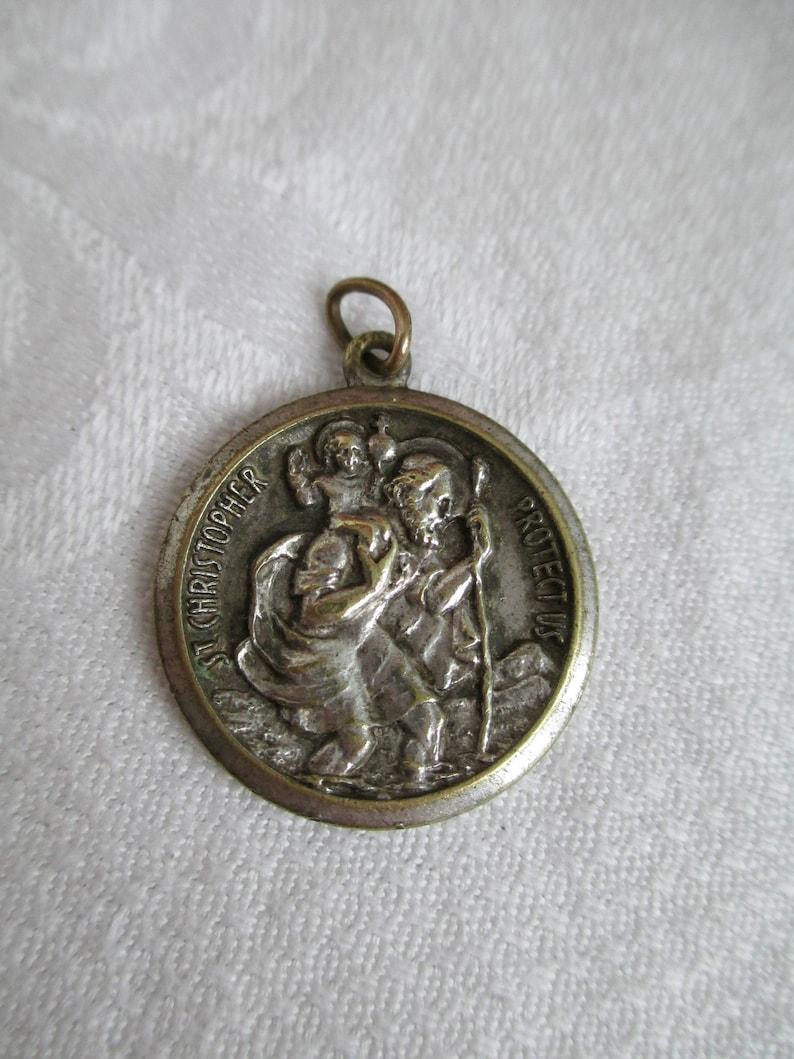 VINTAGE Saint Christopher Religious Medal Catholic Pendant Very Old Estate Spiritual PENDANT  Religious Collectible