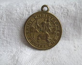 VINTAGE Saint Christopher Protect Us Religious Medal Catholic Pendant San Juan Capistrano Patron saint key tag religious medal