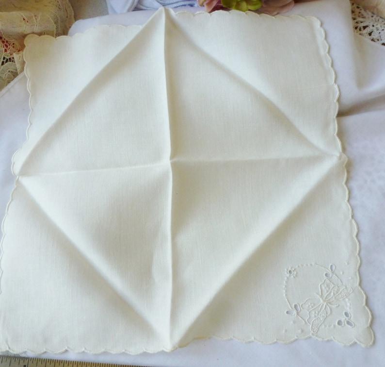 Vintage Solid White Madeira Butterfly Hankie Handkerchief Bridal Wedding