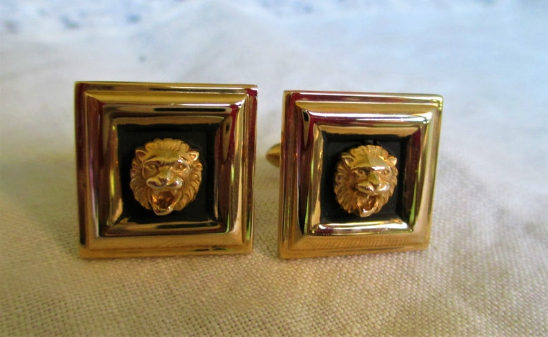 For Dad Hipster Cuff Links Vintage Swank Roaring Lion Head Gold /& Enamel Cufflinks For Him