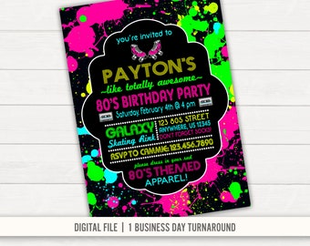 80s Party Invitation Etsy
