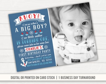 Nautical Birthday Invitation 1st Anchor Sailor Boy First Ahoy Party