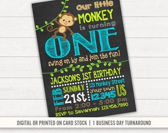 Monkey Invitations Etsy