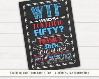 WTF Birthday Party Invitation 50th 40th Printable Adult Mens Funny