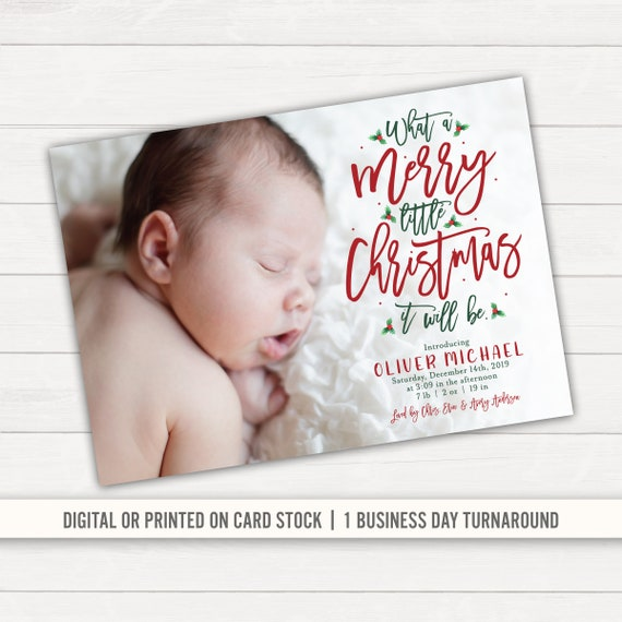 christmas card Holiday birth announcement new years christmas birth announcement card PRINTABLE or PRINTED CARDS new baby