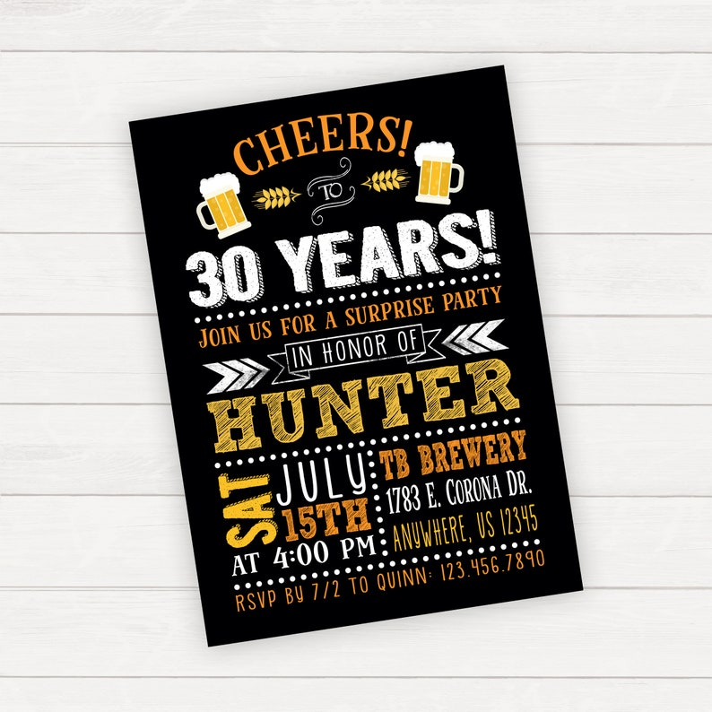 Beer Birthday Invitation Surprise Party 30th