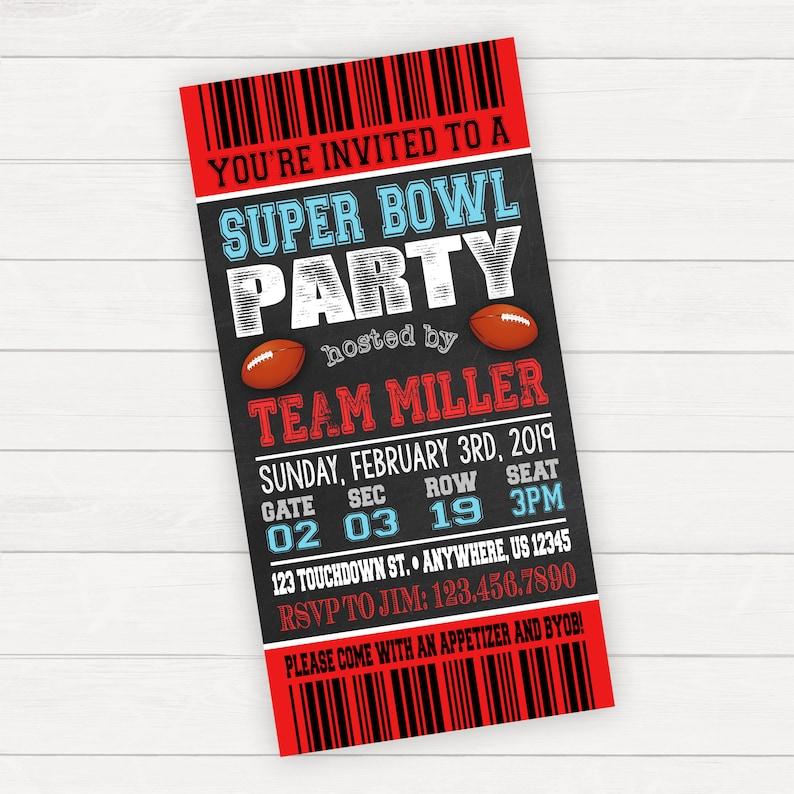 Super Bowl Invitation Super Bowl Party Invitation Super Bowl Etsy
