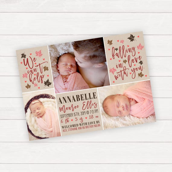 Baby Announcement Fall Baby Birth Announcement Photo Etsy
