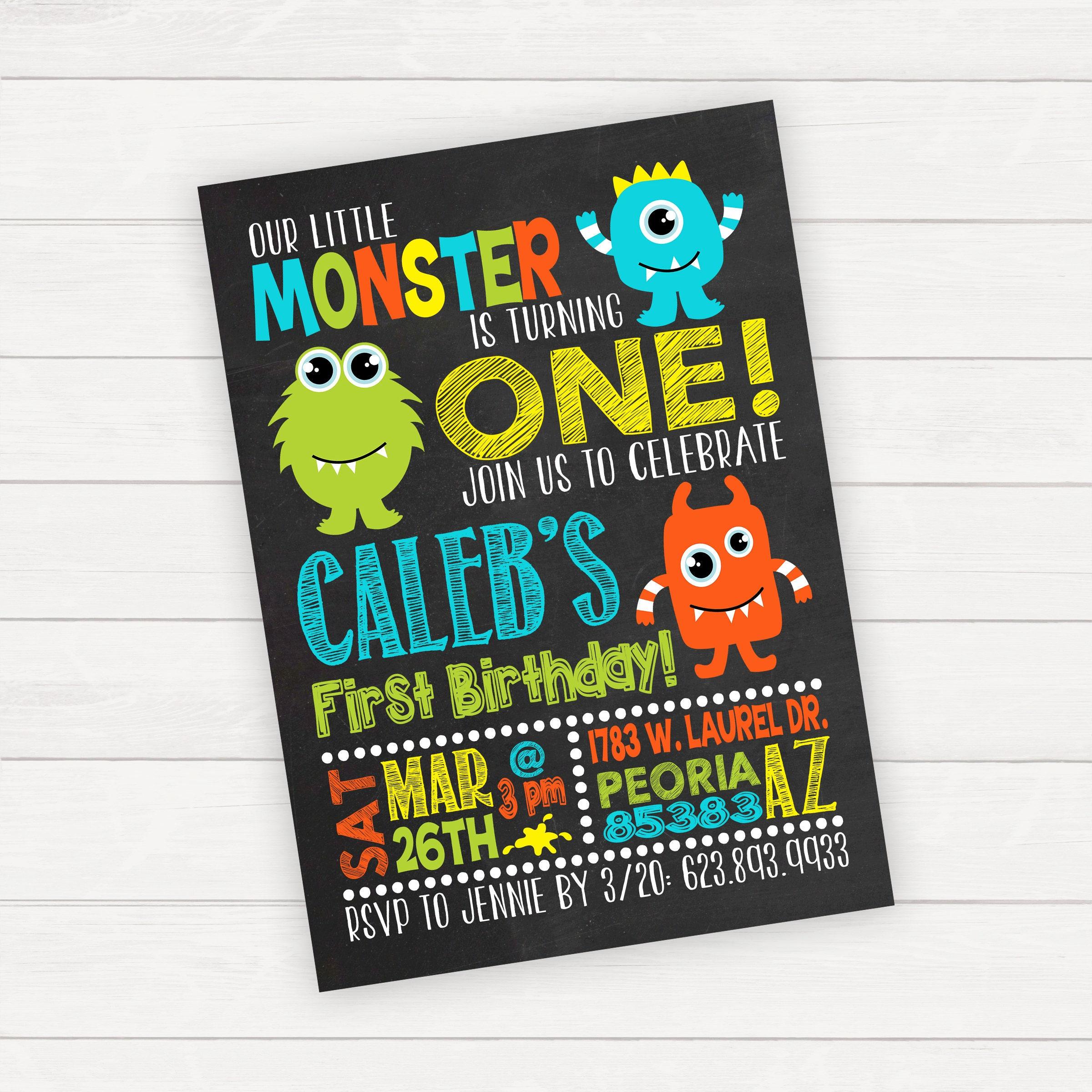 Monster Birthday Invitation Monster 1st Birthday Boy 1st
