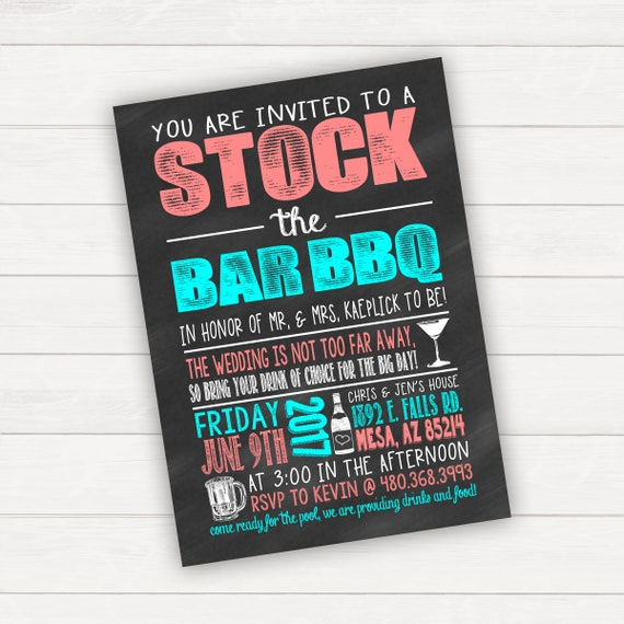 Stock the Bar Invitation Stock the Bar Party Wedding BBQ I do