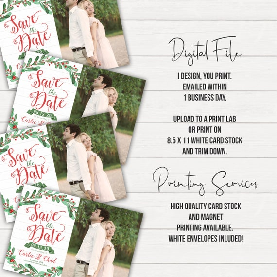Christmas Save The Date.Christmas Save The Date Printed Save The Dates Save The Date Magnets Winter Save The Date Christmas Engagement Holiday Save The Date