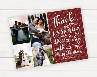 Christmas Wedding Thank You Card, Printable or Printed Thank You Cards,Wedding Thank You Cards, Wedding Photo Thank You Card