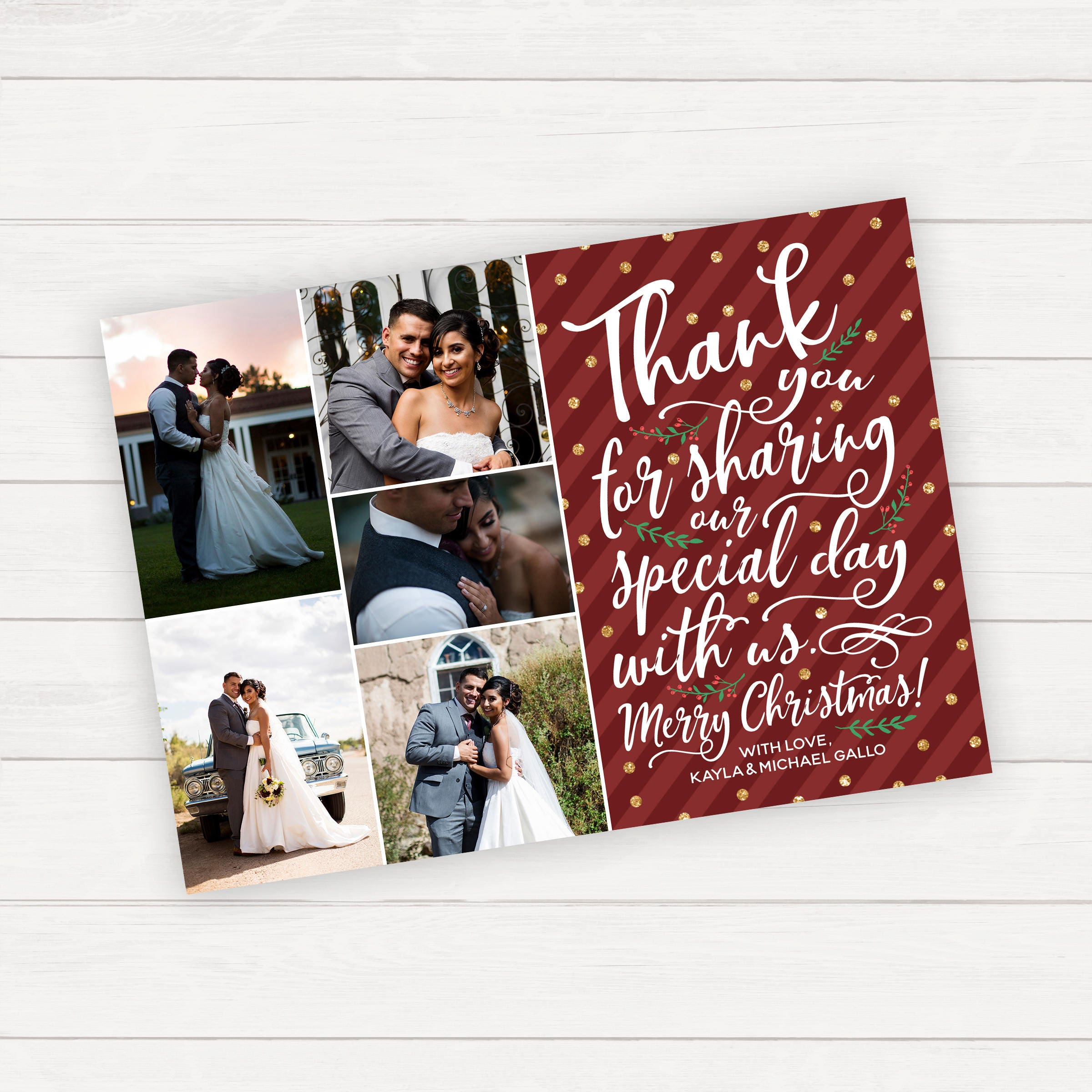 Christmas Wedding Thank You Card Printable or Printed Thank | Etsy