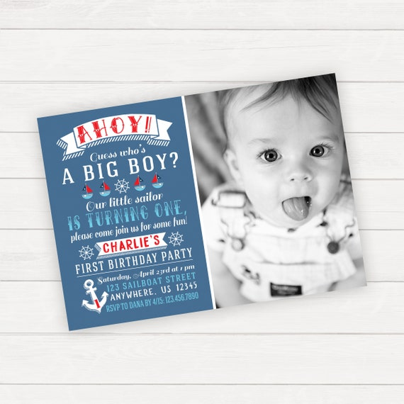 Nautical Birthday Invitation 1st Anchor