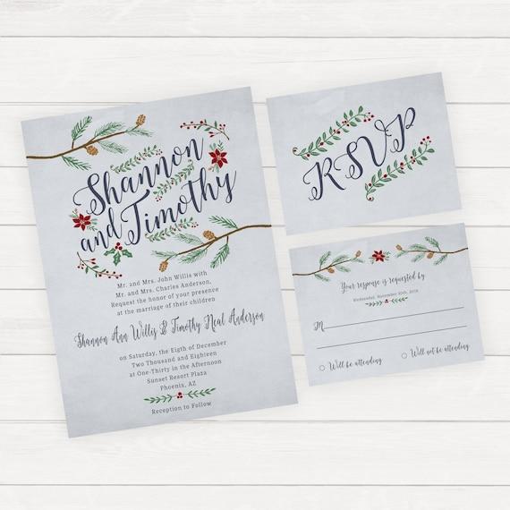 Elegant Weihnachten Hochzeitseinladung Set Winter Hochzeit Einladung