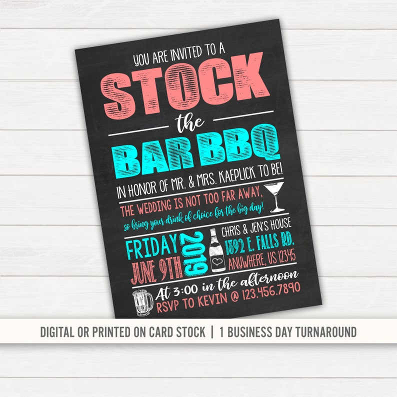 Stock The Bar Invitation Couples Shower Bridal Shower Etsy