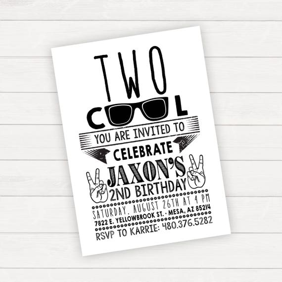 two cool birthday two cool invitation two cool birthday etsy