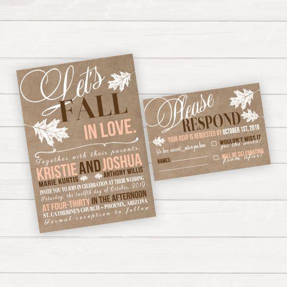 Hochzeit Einladungen Hochzeit Ladt Fallen In Love Herbst Etsy
