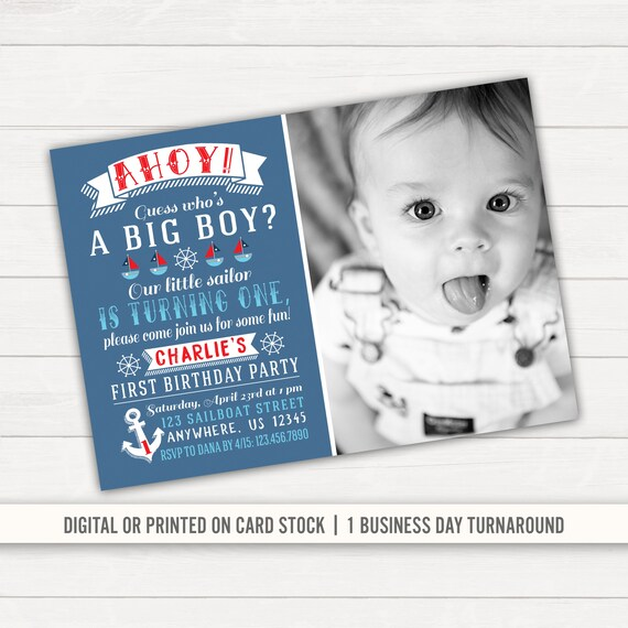 Tremendous Nautical Birthday Invitation Nautical 1St Birthday Anchor Etsy Funny Birthday Cards Online Alyptdamsfinfo