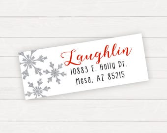 Christmas Return Address Label Christmas Labels Holiday Return Address Labels Printable Return Address Labels Snowflake Christmas
