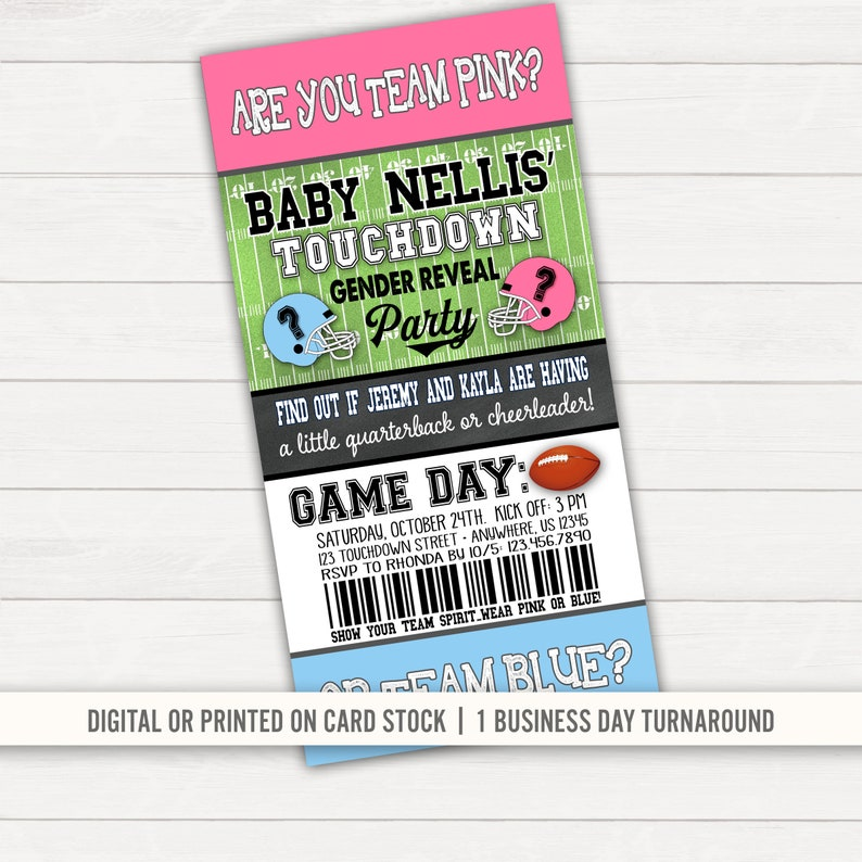 Football Gender Reveal Invitation Touchdowns Or Tutus Party Ticket Sports