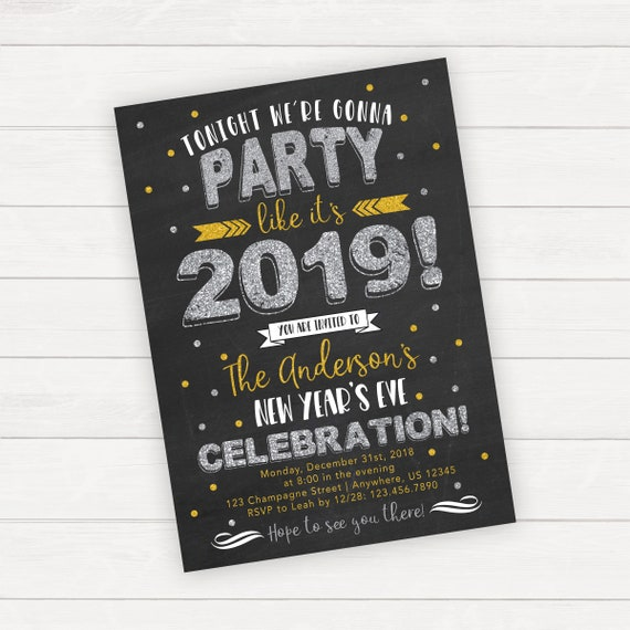 New Years Eve Chalkboard Invitation