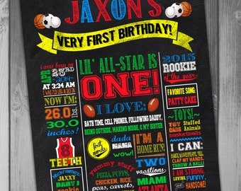 First Birthday Poster Chalkboard Birthday Sign 1st Birthday First Birthday Sports Birthday Printable Poster All Star Sports Poster